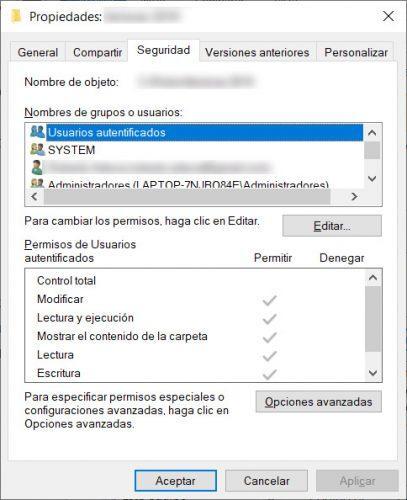 permisos de usuario