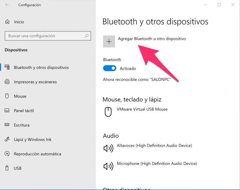 Donde agregar un nuevo dispositivo Bluetooth en Windows 10 para conectar el mando de Xbox