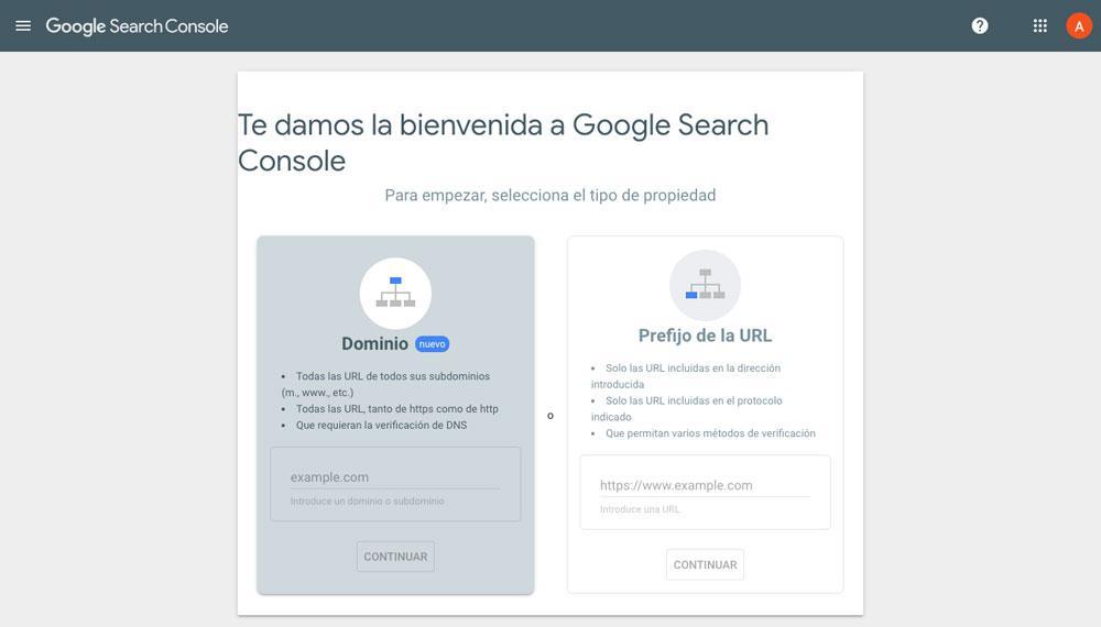 Página de alta de dominio en Search Console de Google
