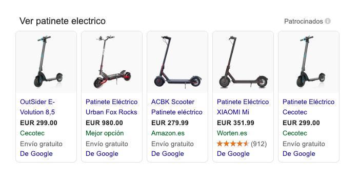 Ejemplo de anuncio de Google Shopping