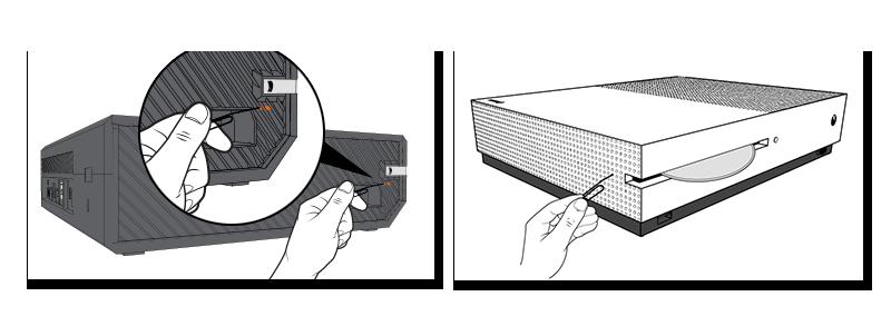 Esquemas para localizar el botón de expulsión manual de los discos