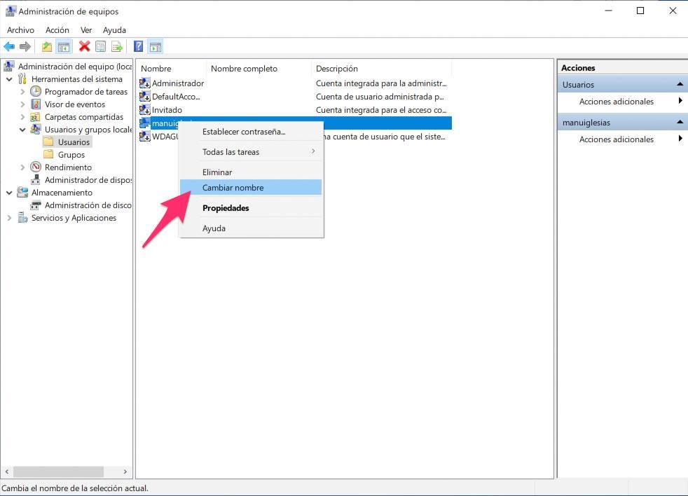 Cambio de nombre en Windows 10 Pro