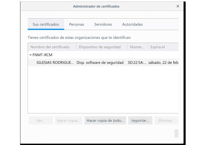 Vista de los certificados instalados en Firefox