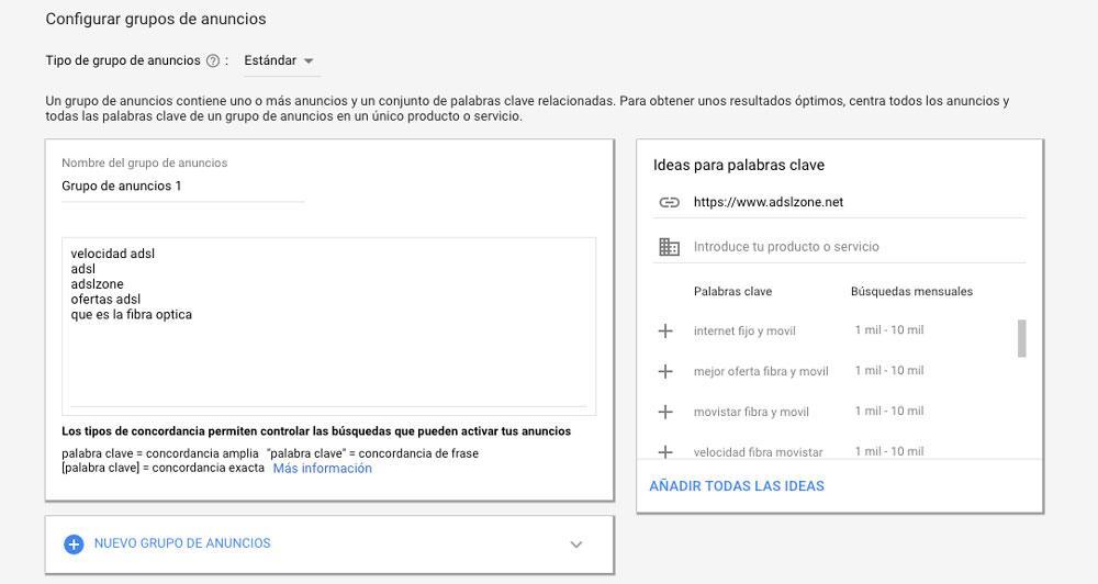 Ejemplo de configuración de grupo de anuncios en Google Ads