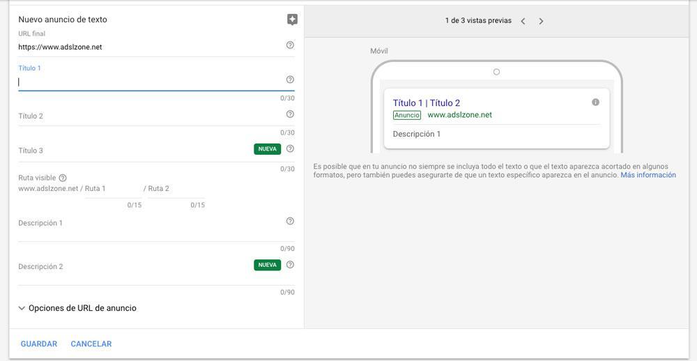 Pantalla de configuración de anuncios de Google Adwords