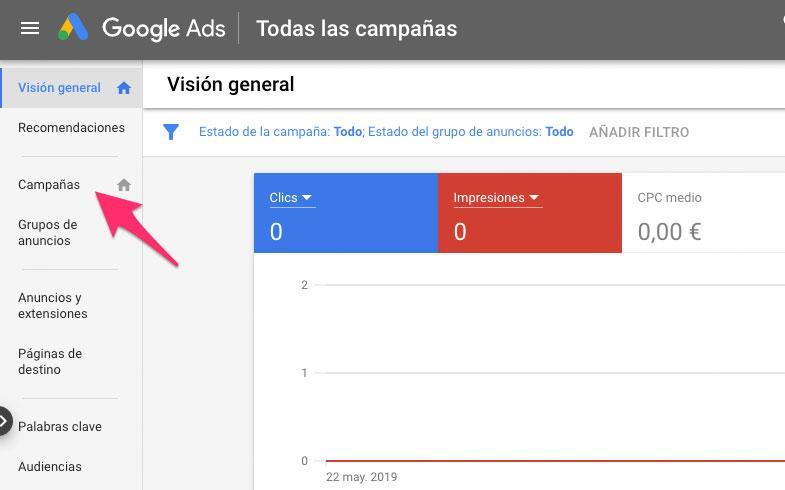 Crear la primera campaña de Google Ads