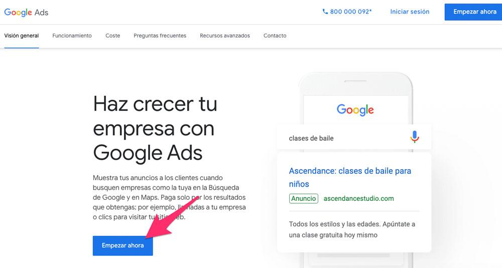 Página de inicio de Google Ads