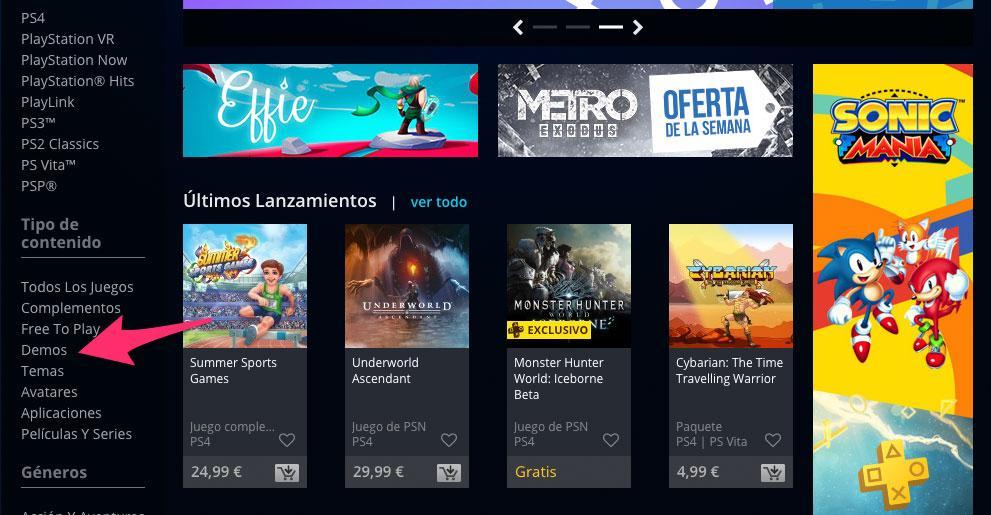 Apartado de demos de la PlayStation Store