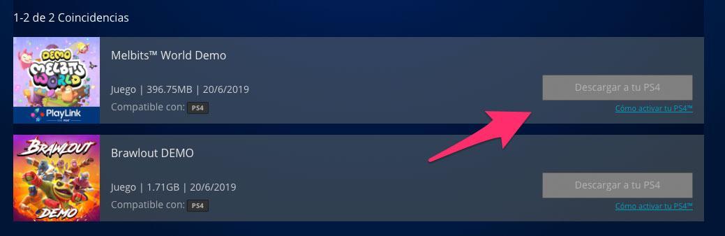 Último paso para la descarga de demos desde la PlayStation Store