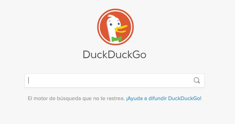 Página principal de DuckDuckGo
