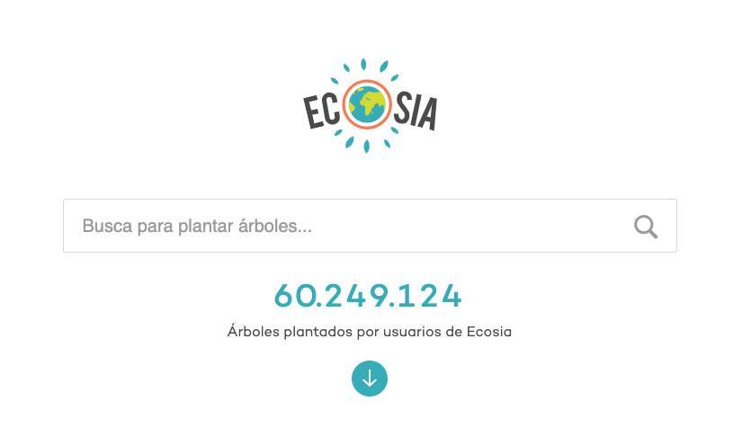 Página principal del buscador Ecosia