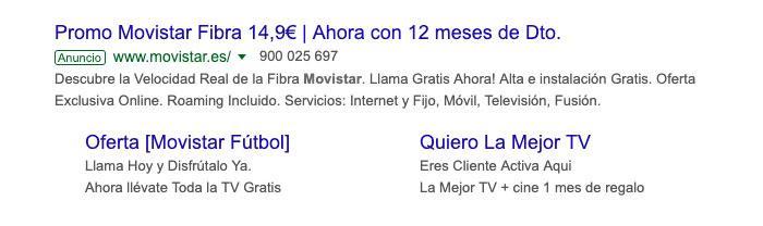Ejemplo de un anuncio de búsqueda de Google Ads