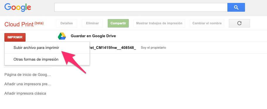 Enviar trabajo de impresión a Google Cloud Print