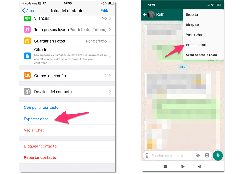 Exportar chats de WhatsApp en Android e iPhone