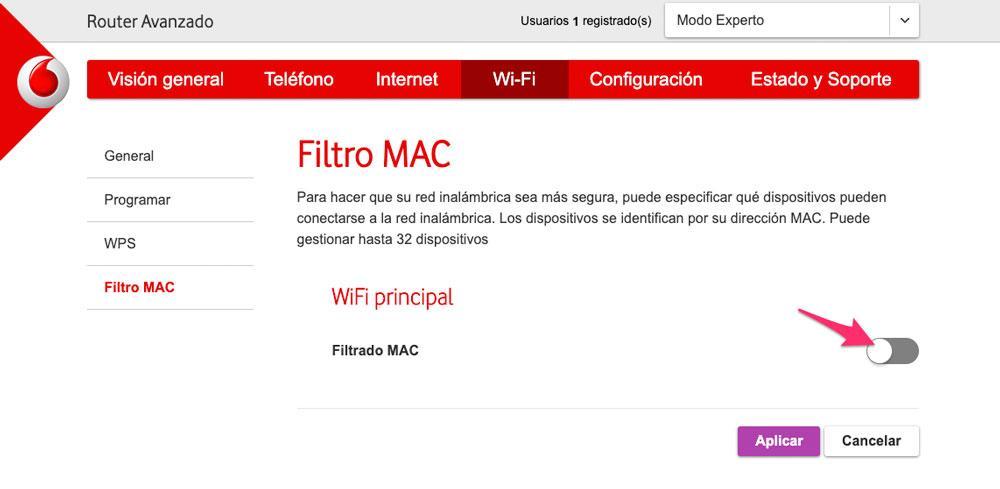 Configuración de filtrado de MAC del router de Vodafone