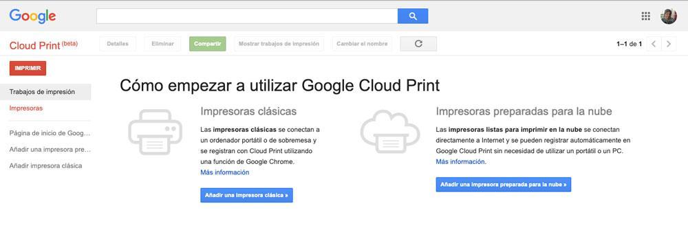 Página principal de Google Cloud Print