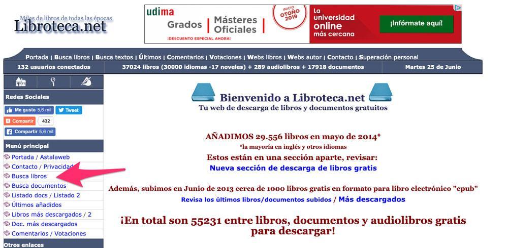 Página principal de Libroteca, web para descargar libros gratis para iPad