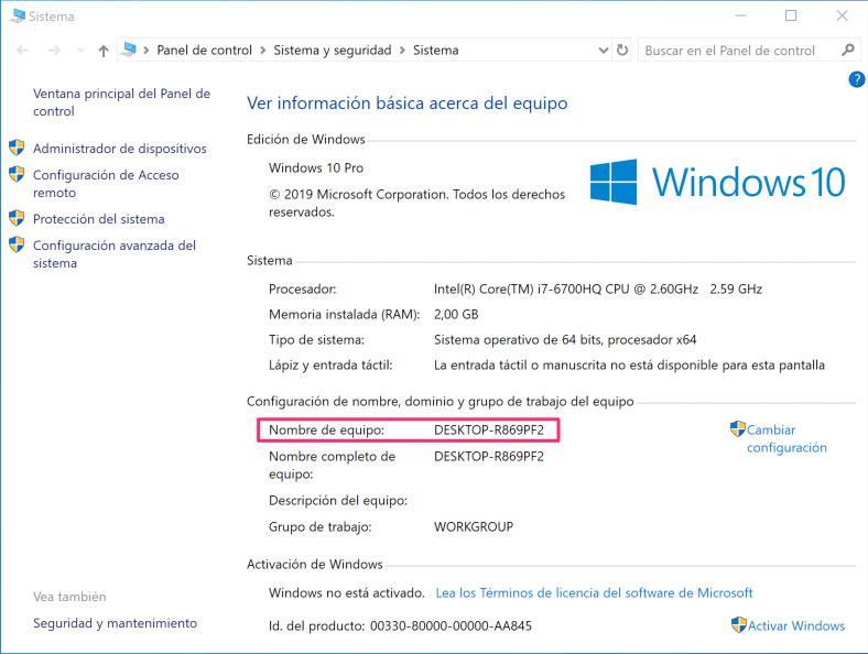 Nombre del equipo en la ventana Propiedades de Windows