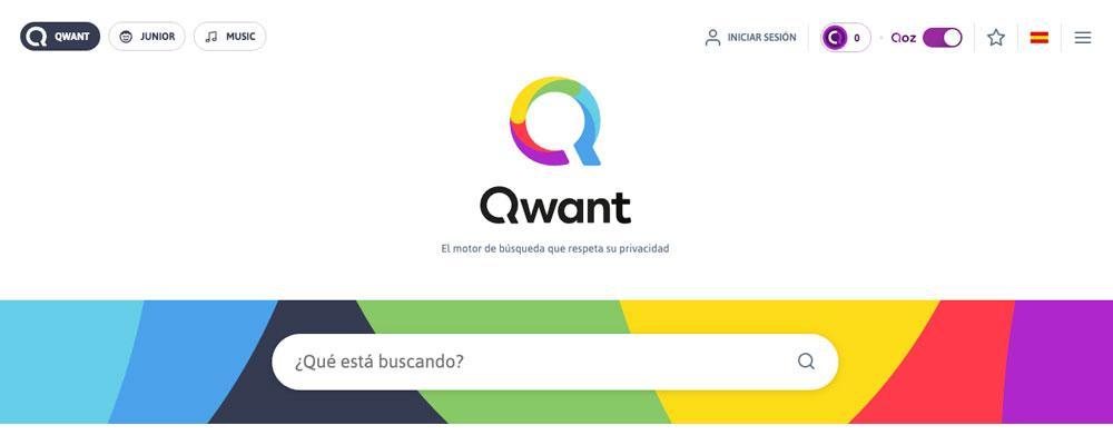 Homepage de Qwant