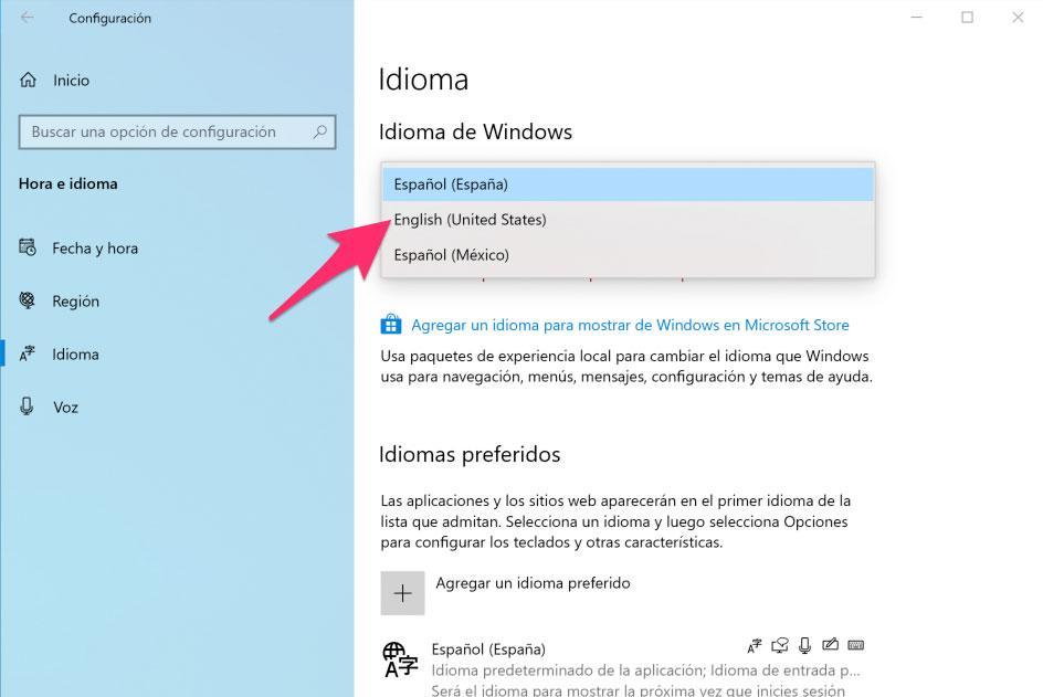Seleccionar idioma de Windows 10