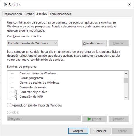 sonidos de inicio y cierre de Windows 10