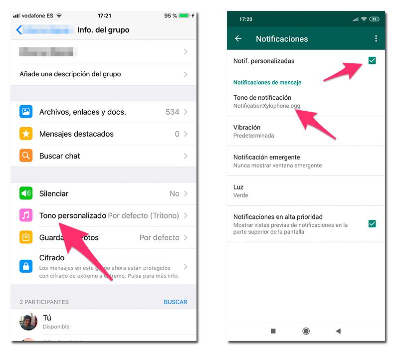 Ajustes para poner un tono personalizado a un contacto de WhatsApp