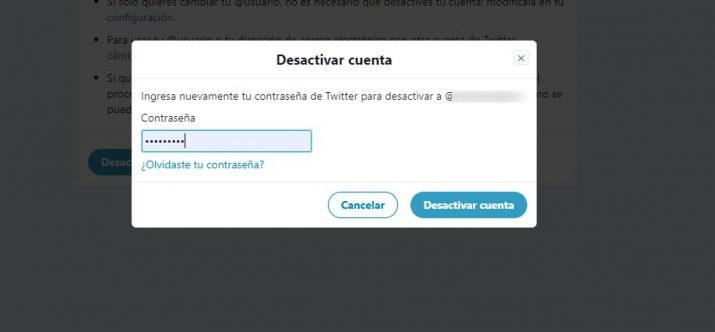 cerrar una cuenta de Twitter
