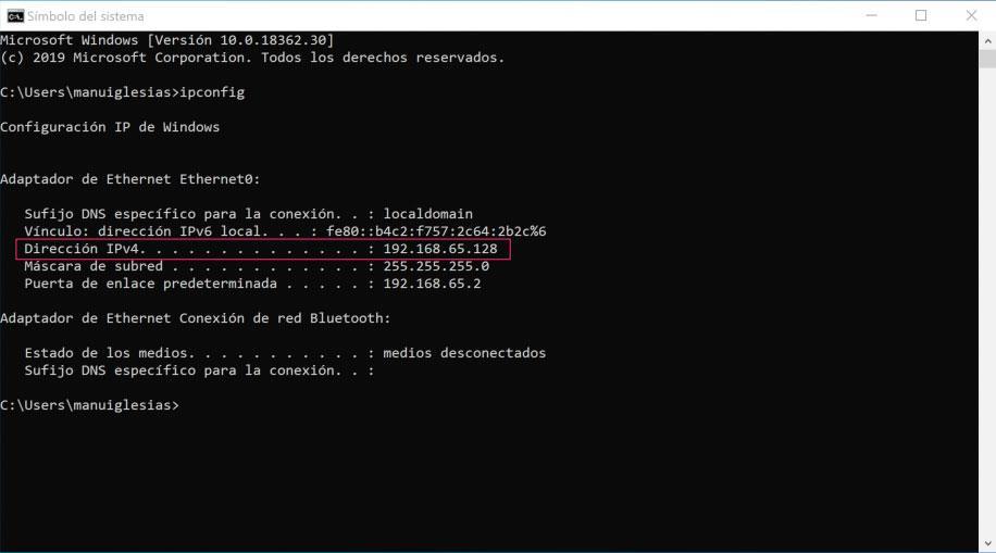 Ventana de CMD para ver la IP de un ordenador