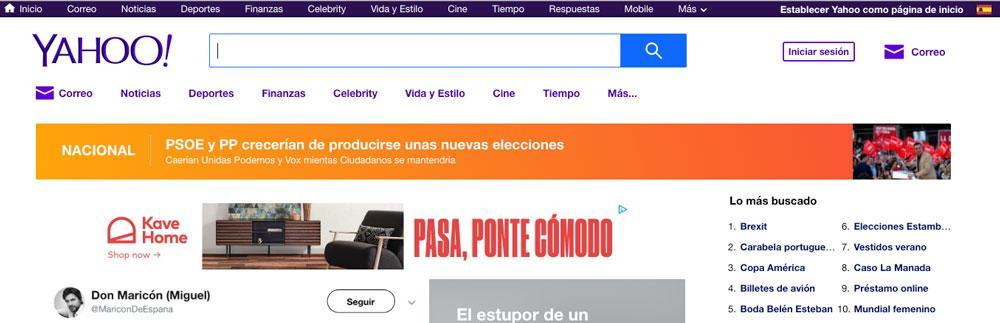 Página principal del buscador Yahoo