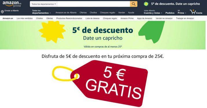amazon 5 euros gratis descuento cupon