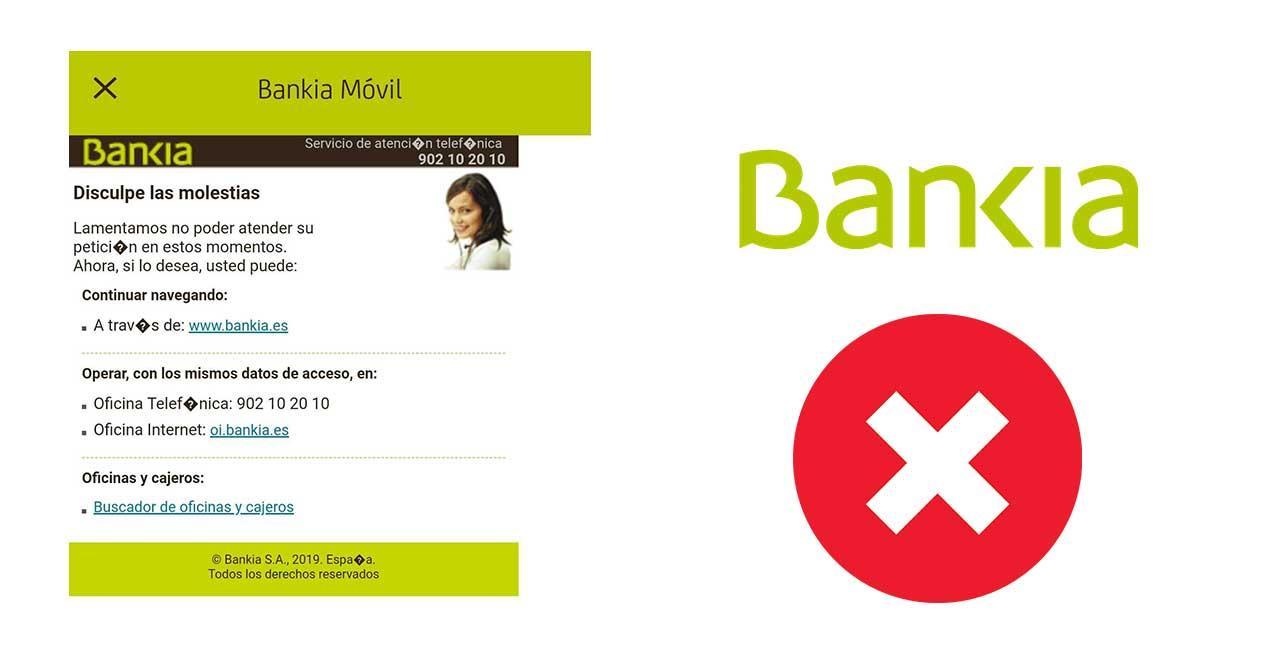 bankia no funciona caida error