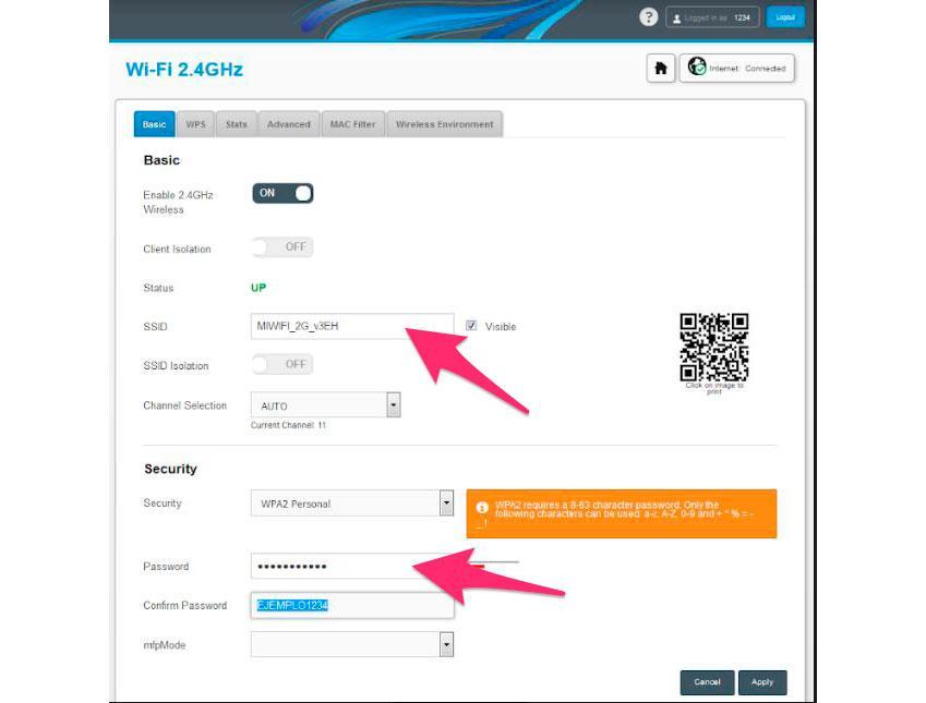 Cambiar clave y nombre de la red WiFi