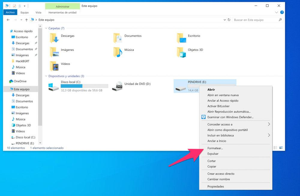Formatear pendrive en Windows 10