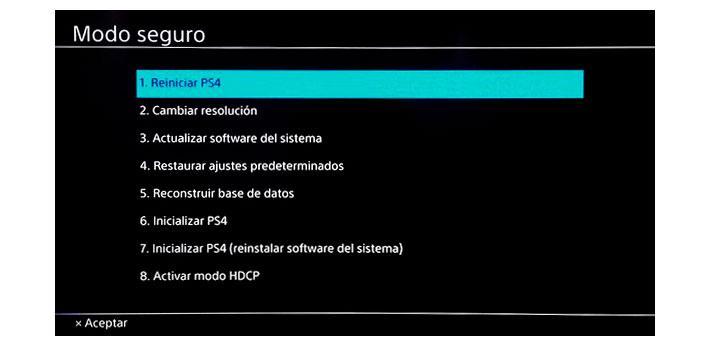 Menú de modo seguro en PS4
