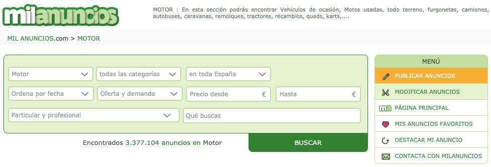 Sección de motor de Milanuncios.com