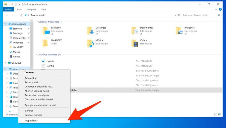 Propiedades de Este Equipo en Windows 10
