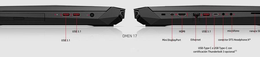 Puertos del portátil Omen de 17 pulgadas