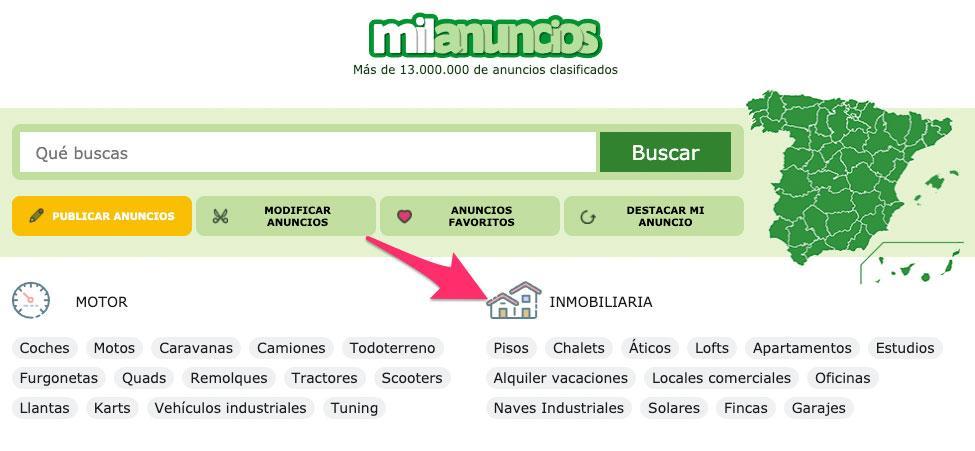 Sección de inmobiliaria de Milanuncios