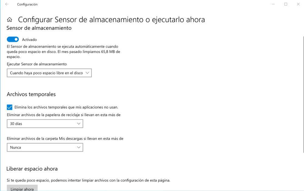 Configuración del sensor de almacenamiento de Windows 10