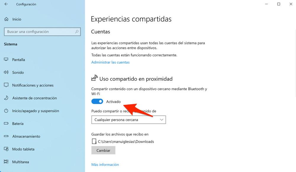 Activación de la función Experiencias compartidas de Windows 10
