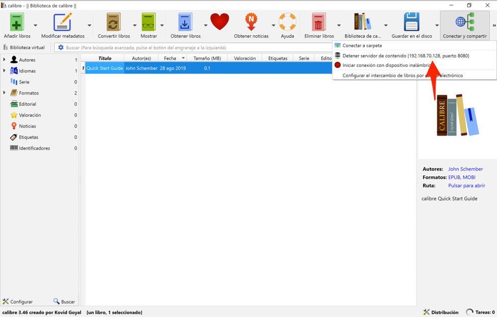 Activar el servidor de contenido de Calibre