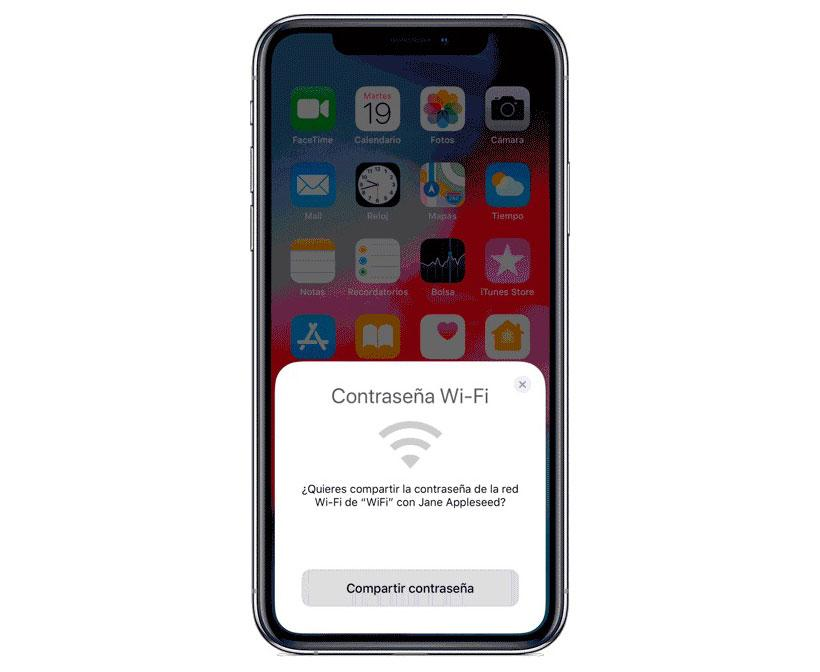Compartir contraseña WiFi en iPhone