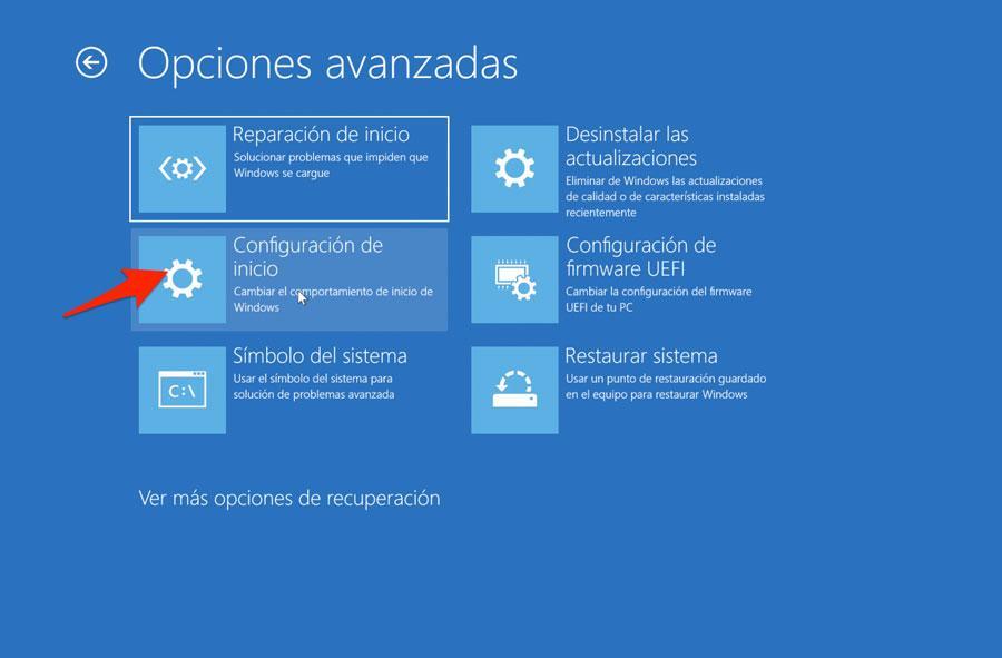 Configuración de inicio de Windows 10