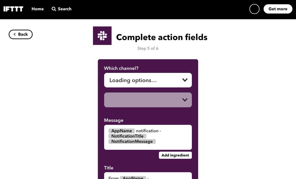 Configurar mensaje de Slack