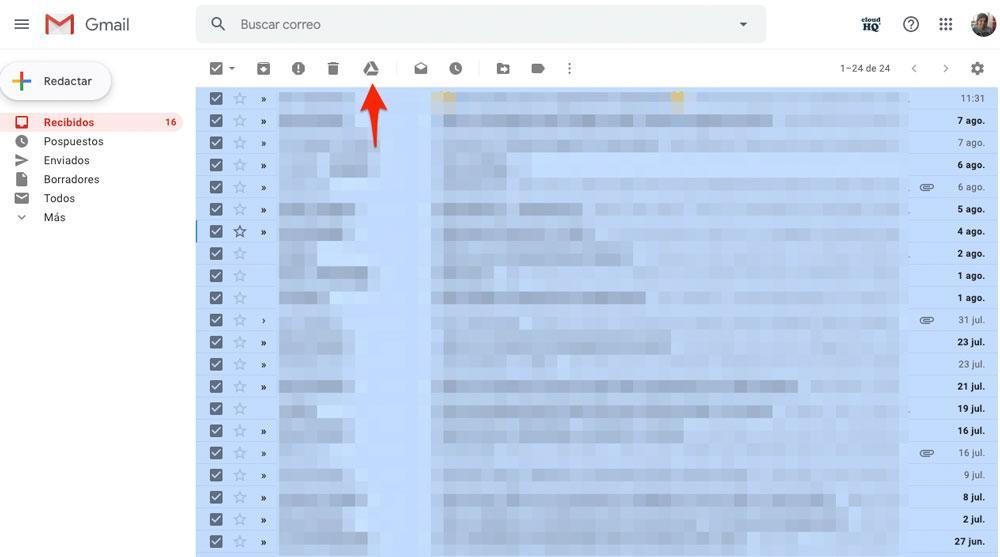 Enviar varios correos a Google Drive al mismo tiempo