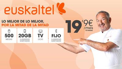 Euskaltel destroza el low cost con fibra de 500 megas, 20 gigas de datos y TV por 20 euros