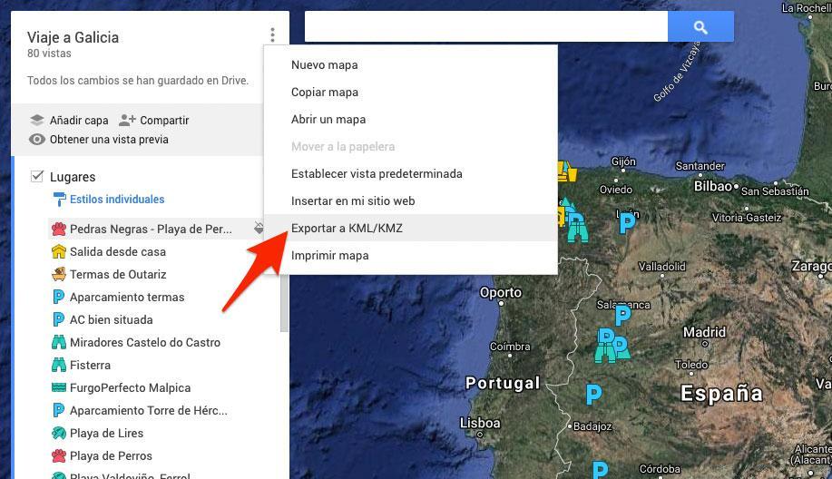 Exportar mapa en KML