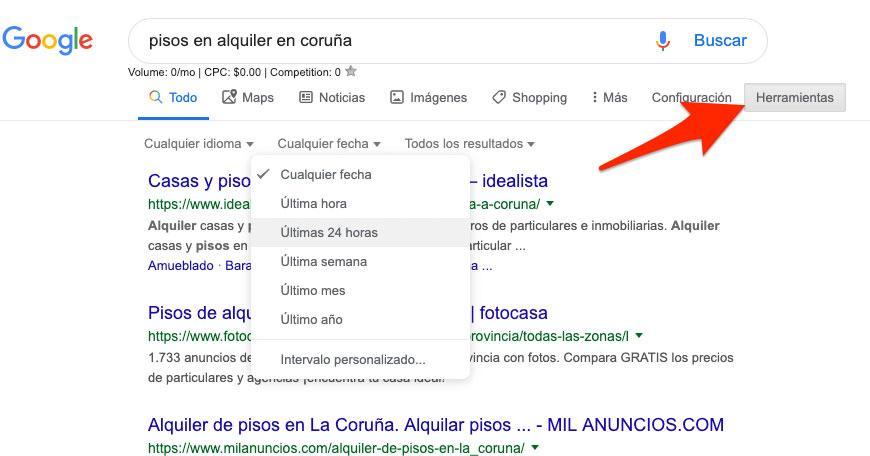 Filtrar por fecha en las búsquedas de Google