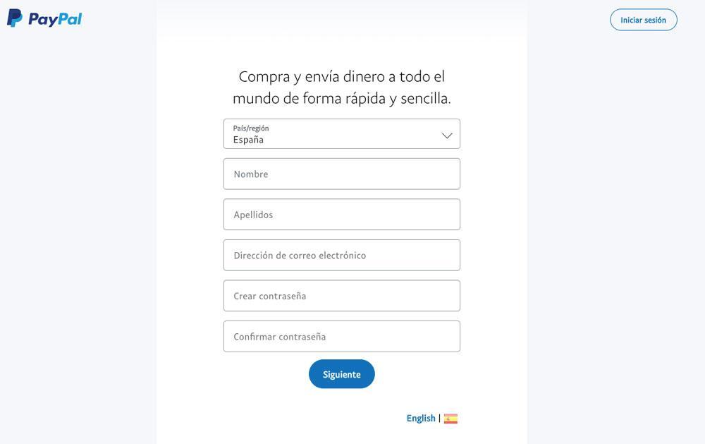 Formulario de registro en PayPal