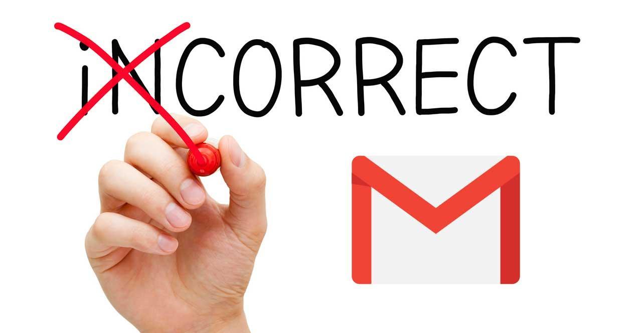 gmail corregir error